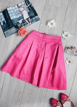 !распродажа! шикарная ярка розовая юбка из натуральной ткани/спідниця от h&m