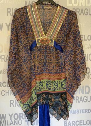 Туника шифон, свободная, орнамент,  в стиле кимоно.