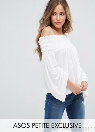 Новая блуза топ с открытыми плечами и рукавами клёш свободного фасона asos s
