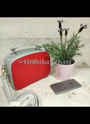 Двухцветаная сумка через плечо / клатч от david jones cm5016 серебряная с красным
