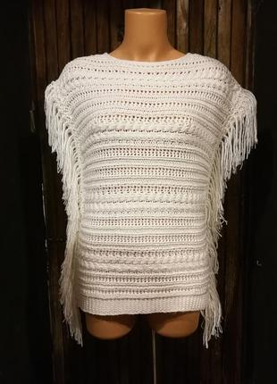 Кофта безрукавка с бахромой кружевная ажурная вязаная летний свитер бохо papaya