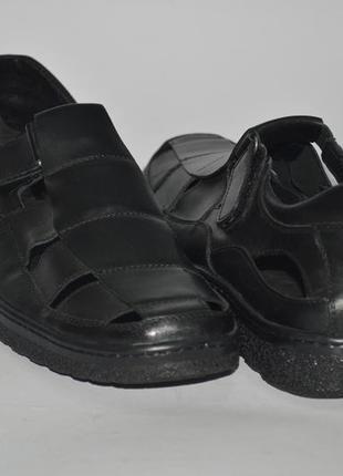 Мужские кожаные сандалии  на липучке. большие размеры