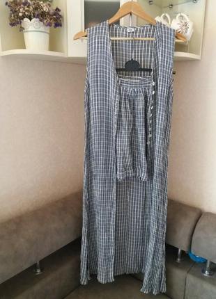 Костюм-шорты высокая талия и  длинная накидка-м                вискоза