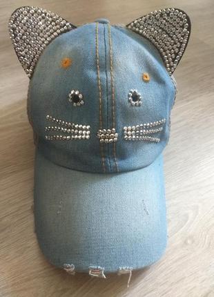 Кепка в виде кошки со стразами, с ушками,джинсовая 26 размер