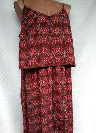 Шикарное платье длинное платье в королевский принт свободного кроя размер 20 (52-56)4 фото