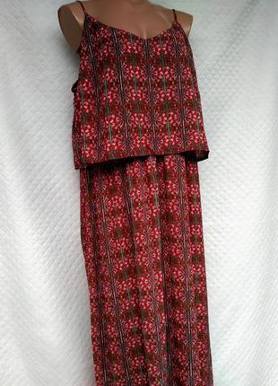 Шикарное платье длинное платье в королевский принт свободного кроя размер 20 (52-56)5 фото
