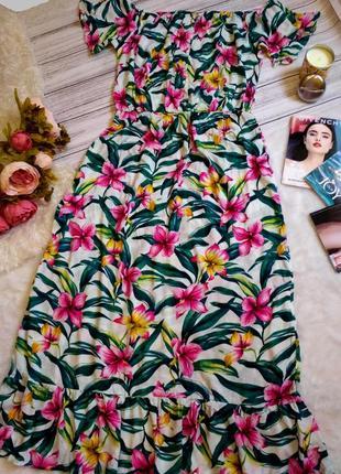Шикарное длинное  вискозное платье в цветы размер 20 (52-56)