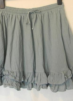 Хлопковая юбка солнцеклеш  с фодрами h&m р.42 серо-мятный цвет
