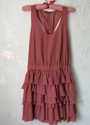 Шикарное терракотовое стильное платье с рюшами, 36