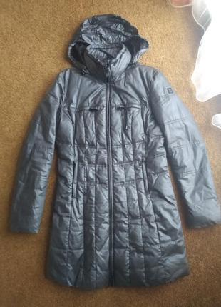 Серый серебристий пуховик пальто курта куртрчка длинная