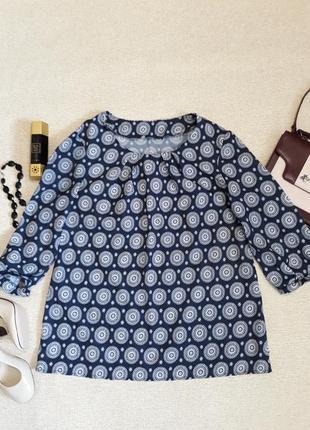 Блуза абстрактный принт синяя