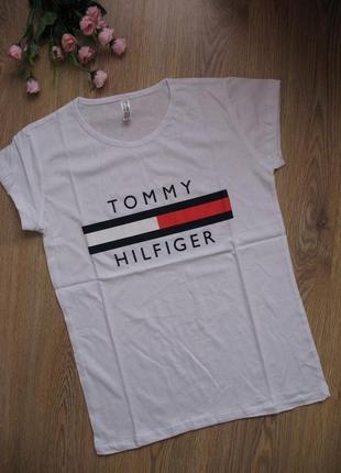 Футболка tommy hilfiger турция, хлопок белая