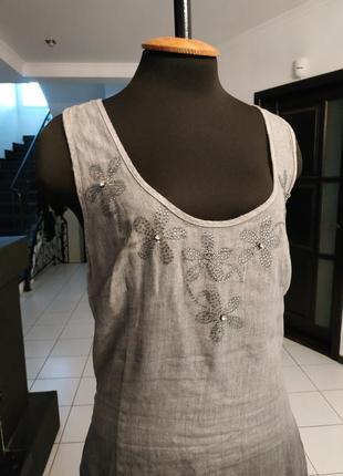 Натуральное льняное платье с камнями и аппликацией льон
