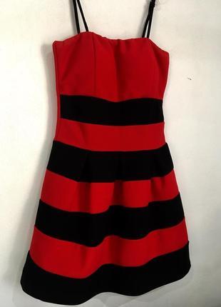 Платье-фонарик ,красное платье,платье на бретелях,платье в полоску,нарядно платье