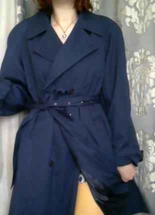 Синий тренч с поясом и внутренним карманом, легкое длинное демисезонное пальто плащ