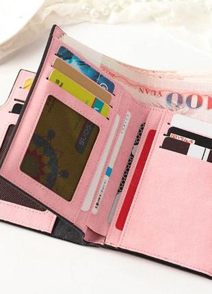 Есть варианты! супер классный розовый очень вместительный короткий кошелек бумажник9 фото