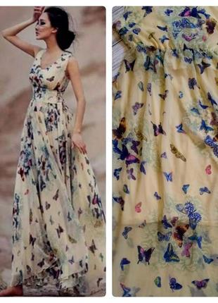 Шикарное шифоновое платье в бабочки размер 8-10 (40-42)