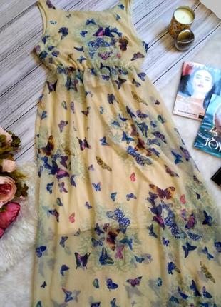 Шикарное шифоновое платье в бабочки размер 8-10 (40-42)2 фото
