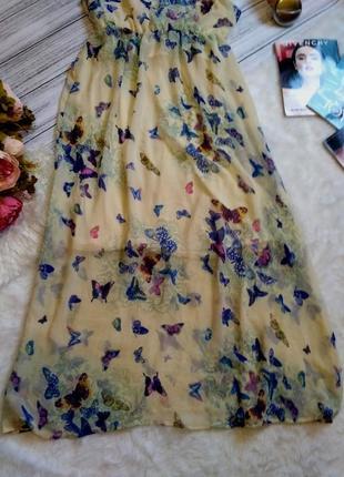 Шикарное шифоновое платье в бабочки размер 8-10 (40-42)3 фото