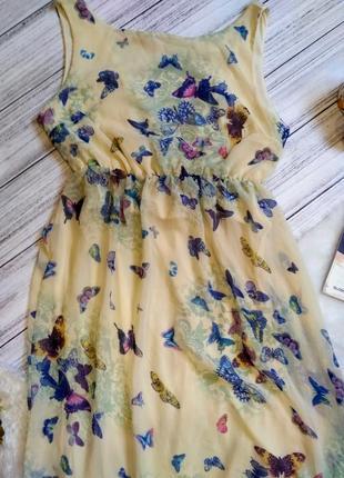 Шикарное шифоновое платье в бабочки размер 8-10 (40-42)4 фото