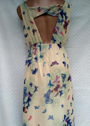 Шикарное шифоновое платье в бабочки размер 8-10 (40-42)8 фото