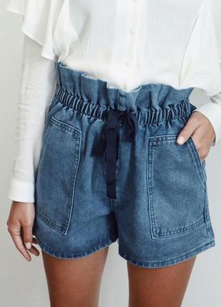 Джинсовые шорты с пояском3 фото