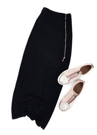 Модная юбка, чёрного цвета на замке,с разрезом!