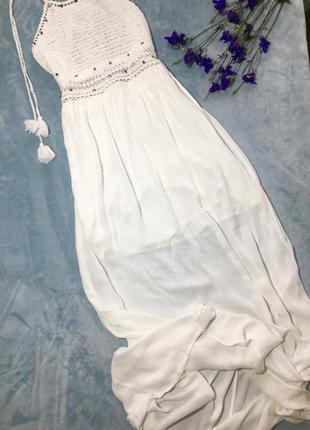 Воздушное белое платье макси от bershka