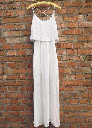 Белое платье макси от pimkie на тонких бретельках