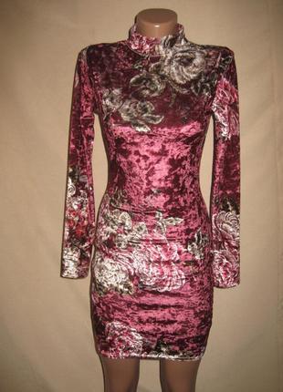 Красивое платье из цветного велюра prettylittlething р-р8