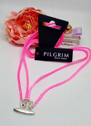Розовый шелковый шнурок 2 в 1 для подвесок шармов pilgrim дания