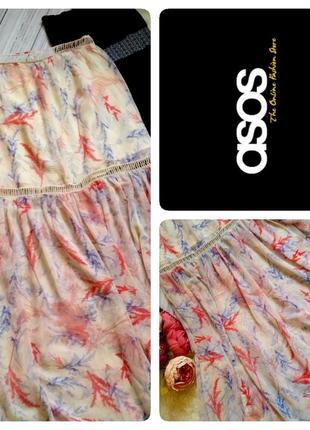 """Шикарная  летняя шифоновая юбка в  принт цветочную поляну бренд """"asos"""" размер 10-12 (м-l)"""