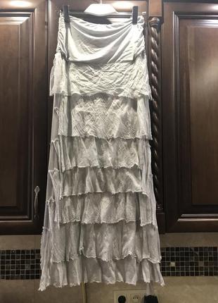Итальянская юбка в пол нежно серо- голубого цвета на трикотажной резинке
