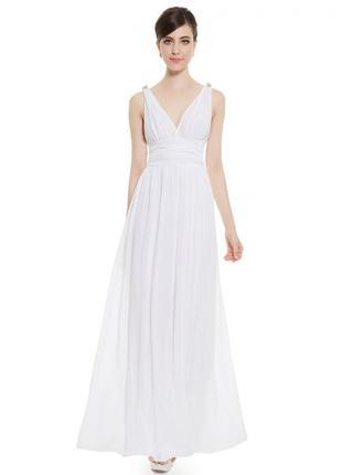 Белое длинное платье в пол нарядное вечернее на бретелях сарафан в греческом стиле
