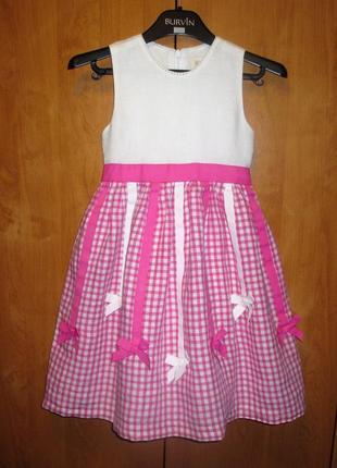 Нарядное праздничное платье children place, рост 110-116 см, лен и хлопок