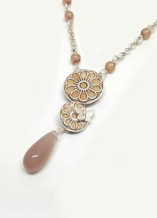 Колье-цепочка с подвесками эмаль, цветы, бабочка дания pilgrim