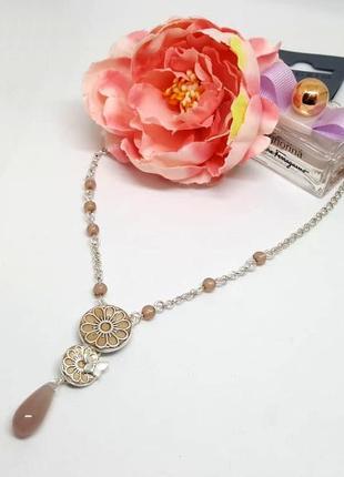 Колье-цепочка с подвесками эмаль, цветы, бабочка дания pilgrim3 фото