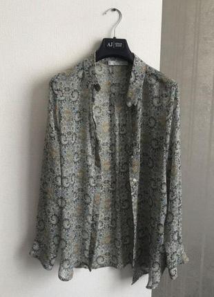 Блуза шифоновая в принт цветочный узор mango suit оригинал