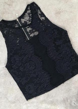 Топ/маечка/блуза с кружевом на молнии