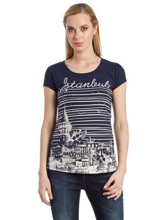 Синяя женская футболка lc waikiki / лс вайкики с надписью istanbul
