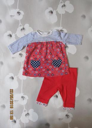 Яркое платьице с лосинками  комплектом  для малышки