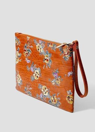 Обнова! клатч сумка эко кожа крокодила на ручке карамель рыжий флористический принт новый