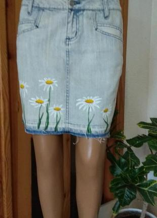 Джинсовая юбка- сигарета /варенка с акриловыми цетами /размер м-10