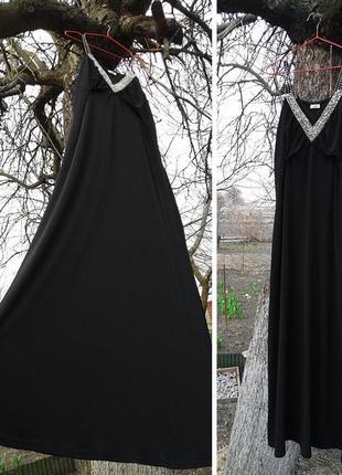 Чёрное вечернее платье в пол от немецкого бренда so bin ich, большой размер