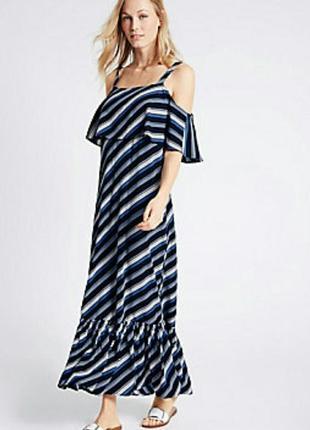 Платье с открытыми плечами,  платье с рюшами с принтом в полоску