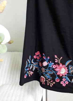 ⭕ черная блуза с вышивкой и переплетом, с открытыми плечиками papaya3 фото