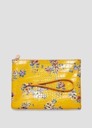 Обнова! клатч сумка эко кожа крокодила на ручке флористический горчичный принт новый