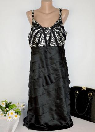 Брендовое черное вечернее макси платье сарафан teatro принт цветы этикетка