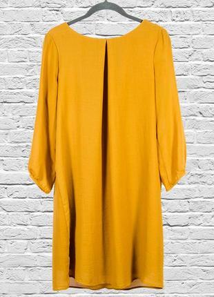 Горчичное платье свободное, летнее платье миди
