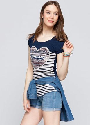 Синяя женская футболка lc waikiki в полоску с рисунком и надписью beautyful
